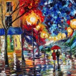 News Romantic Textured Paintings Couples Walking Together