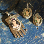 Nickel Silver Frida Kahlo Necklace Earrings Zinnia Folk Arts