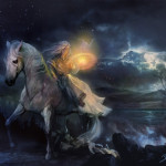 Night Light Picture Fantasy Moon Horse Girl Woman