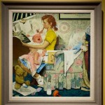 Norman Rockwell Painting The Babysitter Display