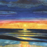 Ocean Sun Scape Watercolor Painting