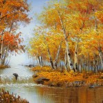 Oil Painting Birch Forest Scenery Yayuan Wholesale Paintings