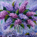 Oil Painting Bouquet Fresh Flowers Lilac For Sale