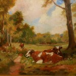 Oil Painting Landscape Cows Shade From Clean