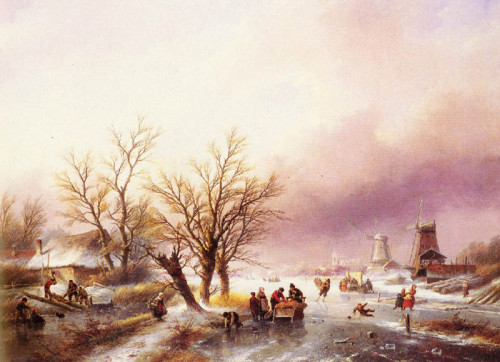 Oil Painting Reproduction Spohler Winter Landscape