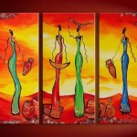 Oils Hand Painted Canvas Oil Painting Abstract Modern African Girls