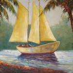 Old Sailboat Lagoon Genuine Hand Painted Other Oil Painting