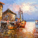 Old Spanish Harbor Oil Paintings From Boats