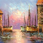 Old Spanish Harbor Seascape Oil Paintings Canvas