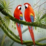 Orange Parrot Tropical Bird Green Tree Portrait Paintings