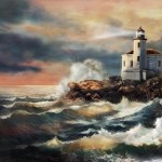 Oregon Lighthouse Sunset Painting Coquill