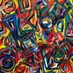 Original Abstract Acrylic Painting Shapes Kenkyrie