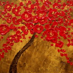 Original Impasto Palette Knife Abstract Painting Cherry Tree