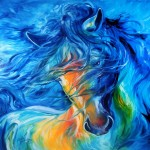 Original Oil Painting Abstract Friesian Art Graphy