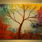 Original Painting Birch Tree Abstract Canvas