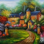 Overarts Cheap Cottages Oil Paintings For Sale Home Decor Art