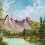 Painting Bob Ross Crimson Mountains Paintings For Sale