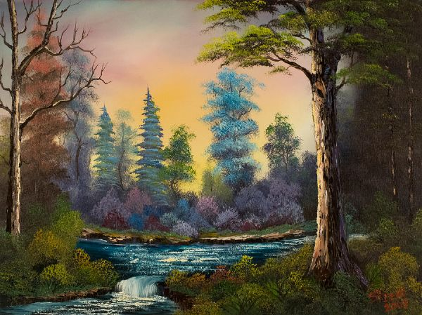 Painting Bob Ross Dark Waterfall Paintings For Sale