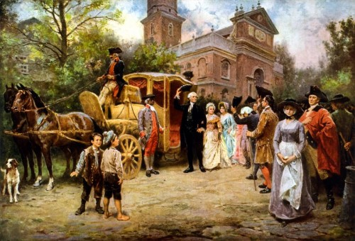 Painting George Washington Arriving Christ Church Fine Art Print