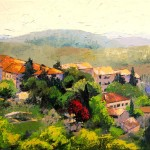 Painting Italian Hillside Village Oil Fine Art