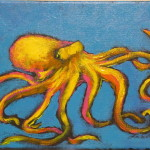 Painting Lori Cushman Yellow Octopus Blue Fine Art Prints And