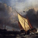 Painting Name Dutch Fishing Boats Storm