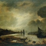 Painting Name Dutch Town River Moonlight