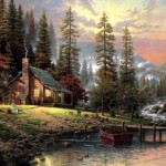 Painting Thomas Kinkade Peaceful Retreat