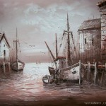Painting Top Quality Oil Unframed Boat Hot Selling