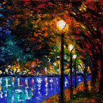 Paintings And Jazz Art Landscape Night Lights Trees Painting