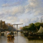 Paintings Antonie Waldorp Busy Canal Dutch Town Painting