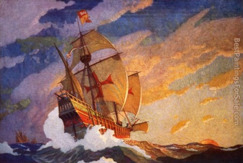 Paintings Columbus Three Ships Wyeth Painting