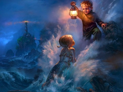 Paintings Ocean Lanterns Lighthouses Mermaids Ren