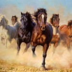 Paintings Original Drove Horses