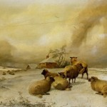Paintings Thomas Sidney Cooper Sheep Winter Landscape Painting