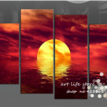Panel Wall Art Half Moon The Sea Oil Painting Canvas Large Cheap