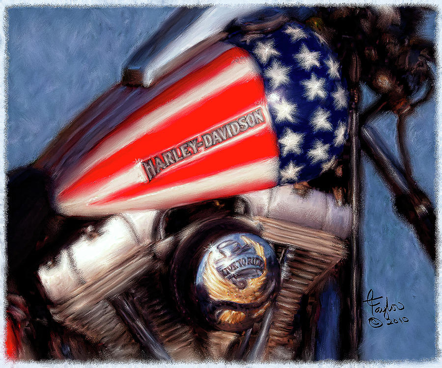 Patriotic And Ready Ride Painting Colleen Taylor