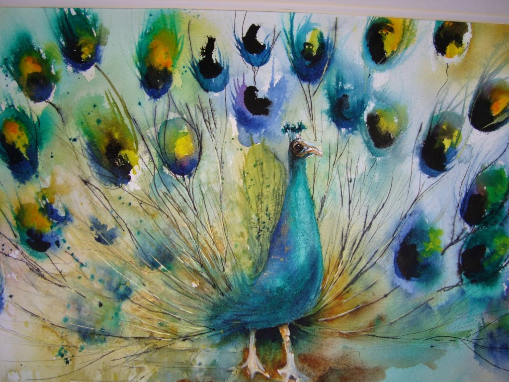 Peacock Watercolour Saunders Waterford Not