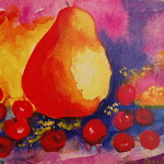 Pear And Cherries Painting Abstrace Fine Art Print