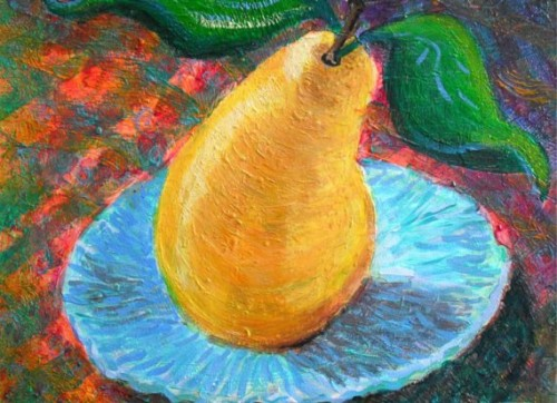 Pear Blue Dish Art Print Limited Circlesroundthesun