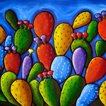 Pear Cactus Painting Whimsical Prickly Fine Art Print