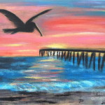 Pelican Pier Sunset Painting Fine Art Print