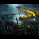 Picture Illustration Girl Witch Dog Night Swamp Fantasy