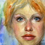 Portrait Painting Young Woman Watercolor