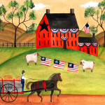 Primitive Americana Sheep Horse Wagon Folk Art Print