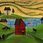 Primitive Folk Art Painting Americana Horse Farm