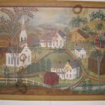 Primitive Painting Panel Village Scene Signed And Dated