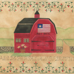Primitive Red Barn Folk Art Sampler Painting