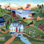 Primitive Seaside Country Farm Yesteryear Folk Art Print