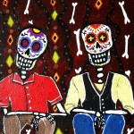 Pristine Cartera Turkus Mexican Day The Dead Amigos Painting